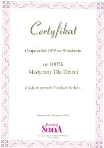 Certyfikat Fundacja