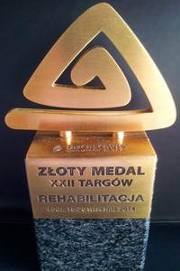 złoty medal targi rehabilitacja w łodzi statuetka